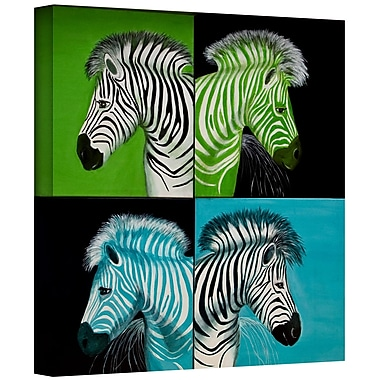 ArtWall 'Zebras Blue Green' by Lindsey Janich Graphic Art on Wrapped Canvas; 36'' H x 36'' W