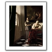 ArtWall Lady Writing a Letter w/ Her Maid' by Johannes Vermeer Painting Print on Rolled Canvas
