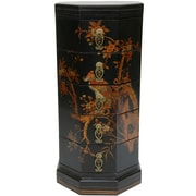 Oriental Furniture Lacquer Hexagonal 5 Drawer Chest; Black Lacquer