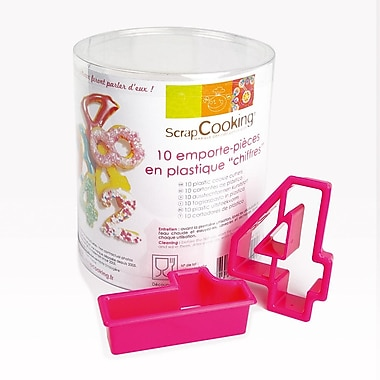 ScrapCooking Plastic Cookie Cutters, Numbers, Box of 10