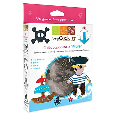 ScrapCooking Stainless Steel Cutters, Pirate, Box of 4