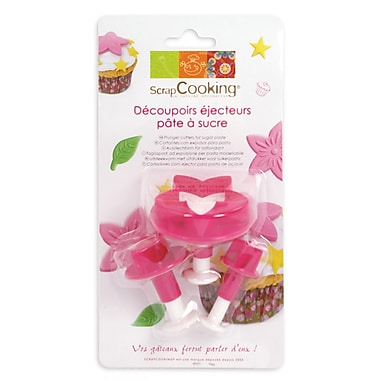 ScrapCooking Plunger Cutters for Fondant, Stars/Flowers/Leaves, 3/Pack