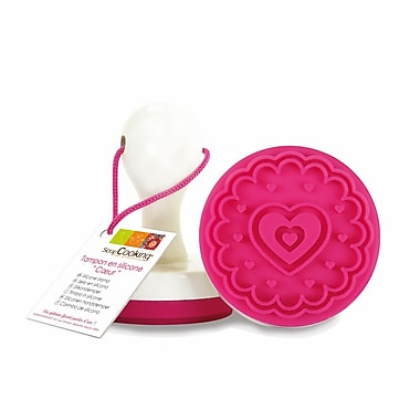 ScrapCooking Heart Silicone Stamp with Handle for Cookies and Fondant