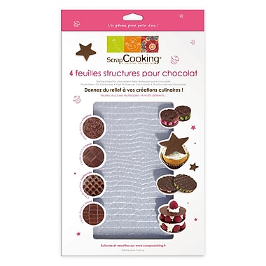 ScrapCooking Textured Sheets for Chocolate and Fondant, 4/Pack