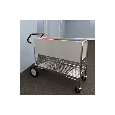 Charnstrom Long Solid File Cart Rear Tires and Easy Push Handle