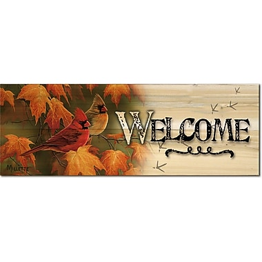 WGI Gallery Welcome Maple Leaves and Cardinals Graphic Art Plaque