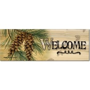 WGI Gallery Welcome Pine Cone Graphic Art Plaque