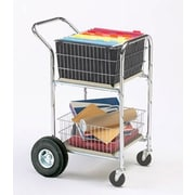 Charnstrom Compact Dual Handle File Cart w/ Rear Air Tire