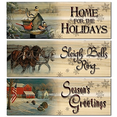 WGI Gallery Home for Holiday/Season Greetings/Sleigh Bells Ring 3 Piece Graphic Art Plaque Set