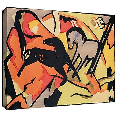ArtWall 'Two Horses' by Franz Marc Painting Print on Wrapped Canvas; 24'' H x 32'' W