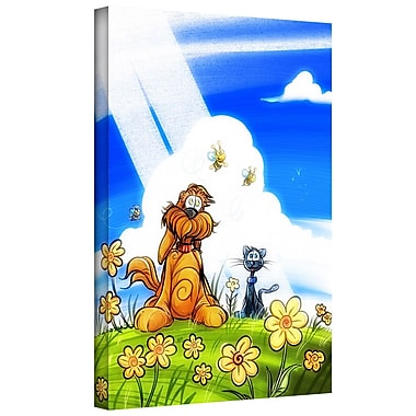 ArtWall 'Cat and Dog' by Luis Peres Graphic Art on Wrapped Canvas; 24'' H x 18'' W