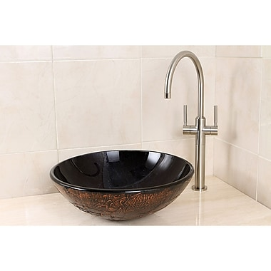 Kingston Brass Fauceture Glass Circular Vessel Bathroom Sink; Onyx
