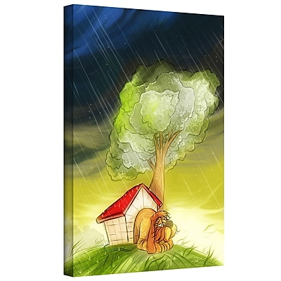 ArtWall 'Dog in the Rain' by Luis Peres Graphic Art on Wrapped Canvas; 18'' H x 14'' W