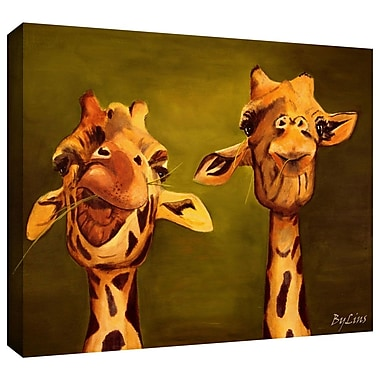 ArtWall 'Giraffe Buddies' by Lindsey Janich Graphic Art on Wrapped Canvas; 12'' H x 18'' W