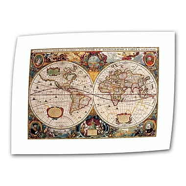 ArtWall Antique ''Hydrographica Map Antique Map'' Graphic Art on Rolled Canvas; 12'' H x 18'' W