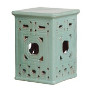 Emissary Lattice Square Frame Garden Stool; Turquoise Blue
