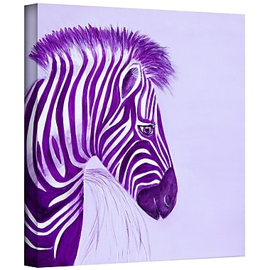 ArtWall 'Zebras Purple' by Lindsey Janich Graphic Art on Wrapped Canvas; 14'' H x 14'' W