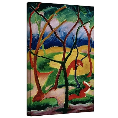 ArtWall 'Weasels Playing' by Franz Marc Painting Print on Wrapped Canvas; 18'' H x 24'' W