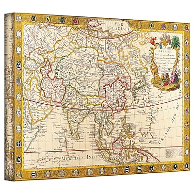 ArtWall Antique Maps 'Map of Asia' by Guillaume Danet Graphic Art on Wrapped Canvas; 12'' H x 18'' W