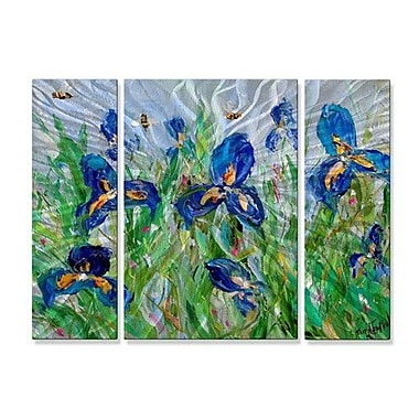 All My Walls 'Blue Iris and Bees' by Karen Tarlton 3 Piece Painting Print Plaque Set