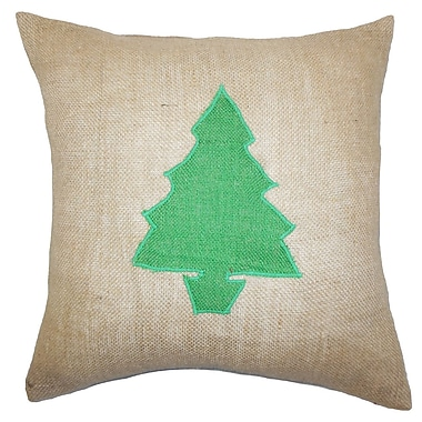 The Pillow Collection Holiday Christmas Tree Burlap Throw Pillow; Green
