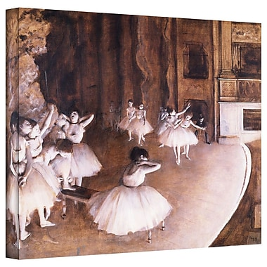 ArtWall 'Ballet Rehearsal on Stage' by Edgar Degas Painting Print on Wrapped Canvas; 24'' H x 32'' W