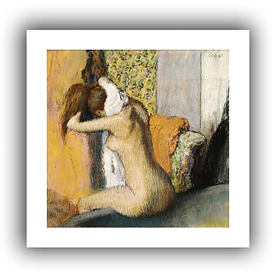 'After the Bath, Woman Drying her Neck' by Edgar Degas Framed Oil Painting Print on Canvas