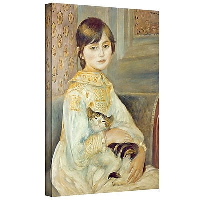 ArtWall 'Julie Manet w/ Cat' by Pierre Renoir Painting Print on Wrapped Canvas; 32'' H x 26'' W