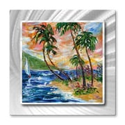 All My Walls 'Tropical Sunset Sailing' by Karen Tarlton Painting Print Plaque