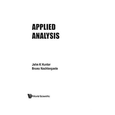 Applied Analysis, New Book (9789810241919)