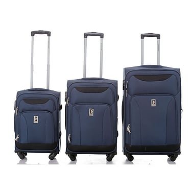 Champs Travelers Collection 3-Piece Hardside Spinner Set, Navy