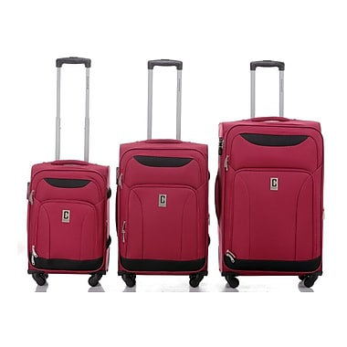 Champs Travelers Collection 3-Piece Hardside Spinner Set, Red