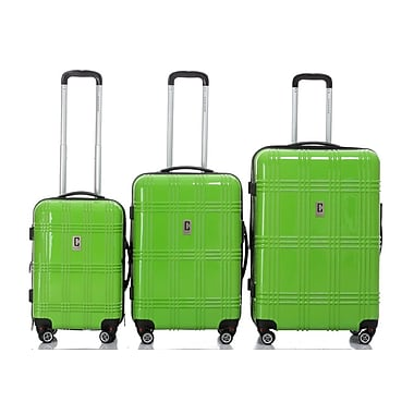 Champs Flight Collection 3-Piece Hardside Spinner Set, Lime Green