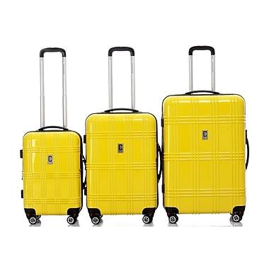 Champs – Ensemble de 3 valises rigides à roues multidirectionnelles de la collection Flight, jaune