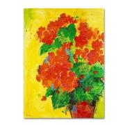"""Trademark Fine Art SG5706-C-GG """"Geraniums Against Yellow"""" by Sheila Golden Frameless Art"""