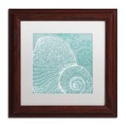 "Trademark Fine Art WAP0100-W-MF ""Aqua Treasure IV"" by Daphne Brissonnet Framed Art, White Matted"