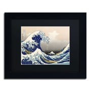 "Trademark Fine Art BL0191-B-BMF ""The Great Kanagawa Wave"" by Katsushika Hokusai Framed Art, Black Matted"