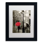 "Trademark Fine Art WAP0133-B1114MF ""Paris Stroll II"" by Sue Schlabach 14"" x 11"" Framed Art, White Matted"
