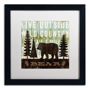 "Trademark Fine Art WAP0120-B1616MF ""Simple Living Bear"" by Michael Mullan 16"" x 16"" Framed Art, White Matted"