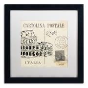 "Trademark Fine Art WAP0093-B1616MF ""Postcard Sketches IV"" by Anne Tavoletti 16"" x 16"" Framed Art, White Matted"