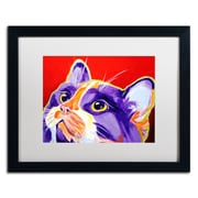 "Trademark Fine Art ALI0559-B1620MF ""Cat Issa"" by DawgArt 16"" x 20"" Framed Art, White Matted"