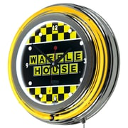 """Trademark Global Waffle House AR1400-WAFF-C 14.5"""" Yellow Double Ring Neon Clock, Checkered"""