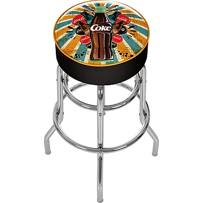 Trademark Global Coca-Cola Brazil COKE-1000-BZ3 Steel Color Splash Coke Bottle Pub Stool