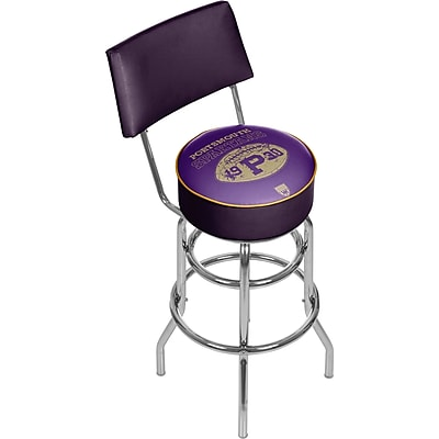 Trademark Global VAF VAF1100-PS Steel Padded Swivel Bar Stool with Back, Portsmouth Spartans