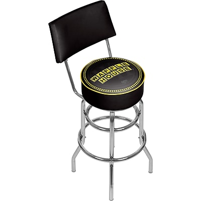 Trademark Global Waffle House 41.75'' Modern Swiveling Base Padded Bar Stool, Wordmark (886511587847)