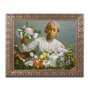 """Trademark Fine Art BL01478-G1620F """"Young Woman with Peonies"""" by Jean Frederic Bazille 16"""" x 20"""" Framed Art"""