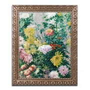 """Trademark Fine Art BL0774-G1620F """"White and Yellow Chrysanthemums"""" by Gustave Cailebotte 20"""" x 16"""" Framed Art"""
