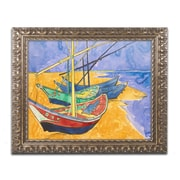 "Trademark Fine Art BL0956-G1620F ""Fishing Boats on the Beach"" by Vincent van Gogh 16"" x 20"" Framed Art"