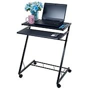Trademark 80-CT10080 Steel Mobile Rolling Cart Compact Computer Desk, Black