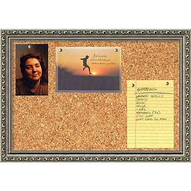 Amanti Art Parisian Silver Message Cork Board, 13.88